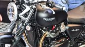 Triumph Bonneville Street Twin Matt Black fuel tank at Auto Expo 2016