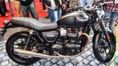 Triumph Bonneville Street Twin Matt Black side at Auto Expo 2016