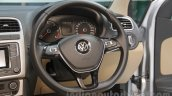 VW Ameo steering wheel detail at Auto Expo 2016