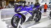 Yamaha R15 V2 Revving Blue front quarter at Auto Expo 2016