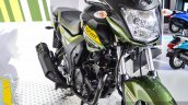 Yamaha SZ-RR V2.0 Matt Green exhaust at Auto Expo 2016
