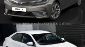 2013 Toyota Corolla vs. 2016 Toyota Corolla (facelift) front three quarters