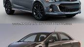 2017 Chevrolet Sonic sedan (facelift) old vs. new