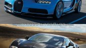 Bugatti Chiron vs. Bugatti Veyron front three quarters left side