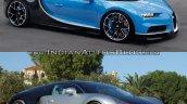 Bugatti Chiron vs. Bugatti Veyron front three quarters right side