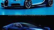 Bugatti Chiron vs. Bugatti Veyron front three quarters