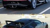 Bugatti Chiron vs. Bugatti Veyron rear three quarters in motion