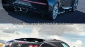 Bugatti Chiron vs. Bugatti Veyron rear three quarters right side