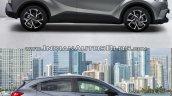 Toyota C-HR side vs Honda HR-V side comparo