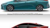 Toyota Prius Prime side vs. 2016 Toyota Prius side