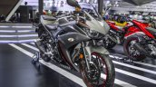 Yamaha R3 Matte Grey front quarter at 2016 BIMS