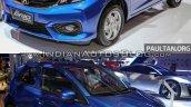 2016 Honda Brio (facelift) vs outgoing Honda Brio front three quarter Old vs New