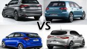 Fiat Tipo vs. VW Golf vs. Ford Focus vs. Renault Megane exterior rear three quarters