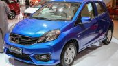 Honda Brio facelift blue front three quarter unveiled at IIMS 2016