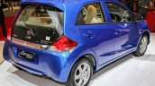 Honda Brio facelift blue rear three quarter unveiled at IIMS 2016