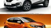 Renault Kaptur vs. Renault Captur front three quarters studio image