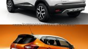 Renault Kaptur vs. Renault Captur rear three quarters studio image