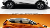 Renault Kaptur vs. Renault Captur side profile studio image