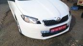 Skoda Rapid facelift front end spied up close