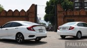 2016 Honda Civic vs 2014 Honda Civic rear three quarter In Images