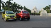 Datsun redi-GO lime green and ruby red front Review