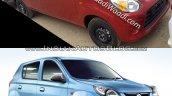 Maruti Alto 800 facelift vs Older model front quarter