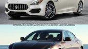 2016 Maserati Quattroporte (facelift) vs. 2013 Maserati Quattroporte front three quarters