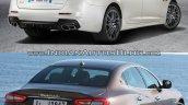 2016 Maserati Quattroporte (facelift) vs. 2013 Maserati Quattroporte rear three quarters