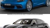 2017 Porsche Panamera vs. 2014 Porsche Panamera front three quarters studio image