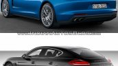 2017 Porsche Panamera vs. 2014 Porsche Panamera rear three quarters left side