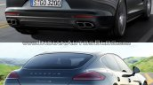 2017 Porsche Panamera vs. 2014 Porsche Panamera rear three quarters right side