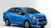 Chevrolet Beat Essentia compact sedan rendered in blue
