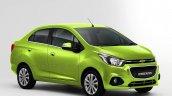 Chevrolet Beat Essentia compact sedan rendered in green