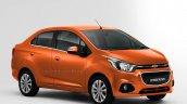 Chevrolet Beat Essentia compact sedan rendered in orange