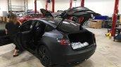Tesla Model 3 rea rthree quarters spy shot