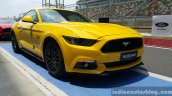 2016 Ford Mustang GT in India front three quarter yellow First Drive Review