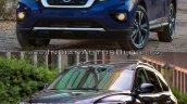2017 Nissan Pathfinder (facelift) vs. 2013 Nissan Pathfinder front three quarters left side