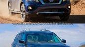 2017 Nissan Pathfinder (facelift) vs. 2013 Nissan Pathfinder front three quarters right side