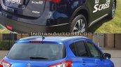 (Maruti) Suzuki S-Cross facelift vs Older model rear three quarter Old vs New