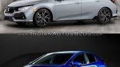 2017 Honda Civic Hatchback vs. 2015 Honda Civic Hatchback front three quarters