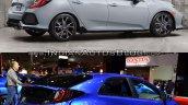 2017 Honda Civic Hatchback vs. 2015 Honda Civic Hatchback rear three quarters