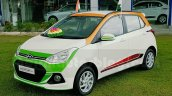 Hyundai Grand i10 Independence Day Edition front three quarter seen at dealership