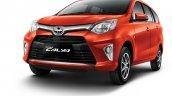 Toyota Calya orange metallic front three quarters