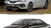 Toyota Etios facelift vs Older model front quarter Old vs New