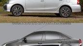 Toyota Etios facelift vs Older model side Old vs New