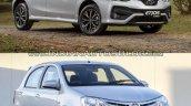Toyota Etios hatchback facelift vs Older model front quarter Old vs New