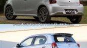 Toyota Etios hatchback facelift vs Older model rear quarter Old vs New