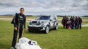 2017 Land Rover Discovery front three quarters with Bear Grylls