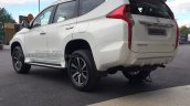 2017 Mitsubishi Shogun Sport rear three quarters left side spy shot