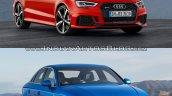 Audi RS 3 Sedan vs. Audi A3 Sedan front three quarters right side